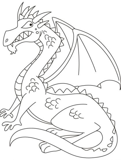 Dragon with wings able to fly high coloring pages