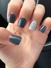 Beautiful charcoal grey manicure with silver glitter ...