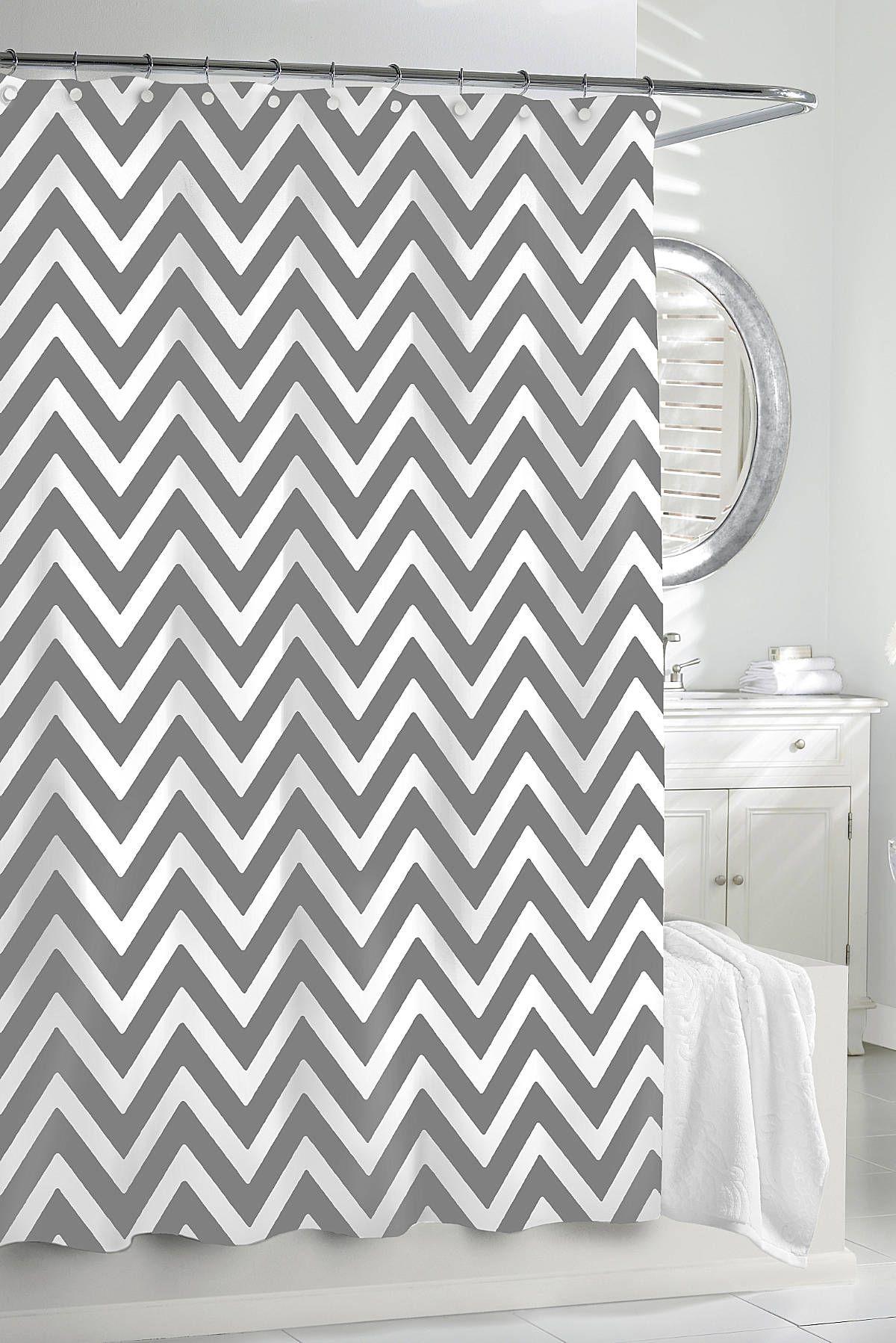 Chevron gray shower curtain - Kassatex Chevron Shower Curtain Gracious Home Project Ds