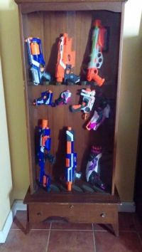 Old gun cabinet for Nerf collection. | Toy Gun Collections ...