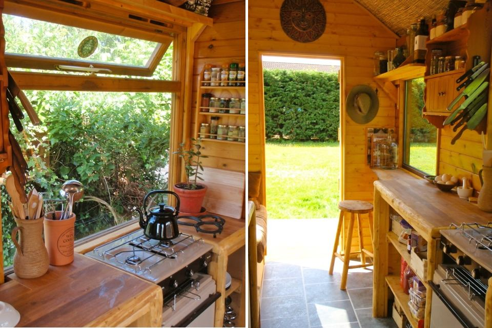 Kitchen and bathroom wagon off grid portable home and