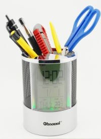 Pen Pencil Holder and Digital Clock, Temperature Display ...