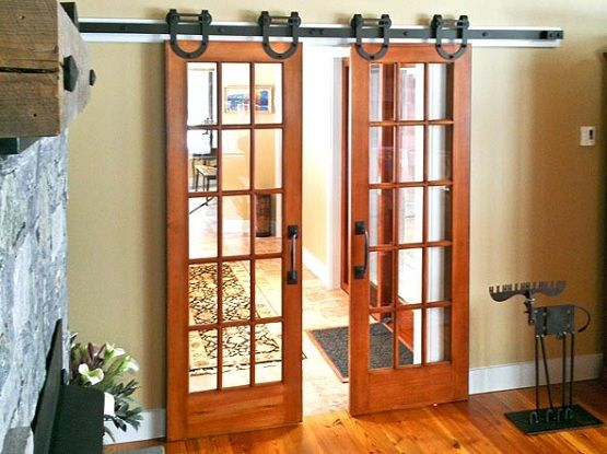 Interior barn door kit with glass panel Interior Barn Door