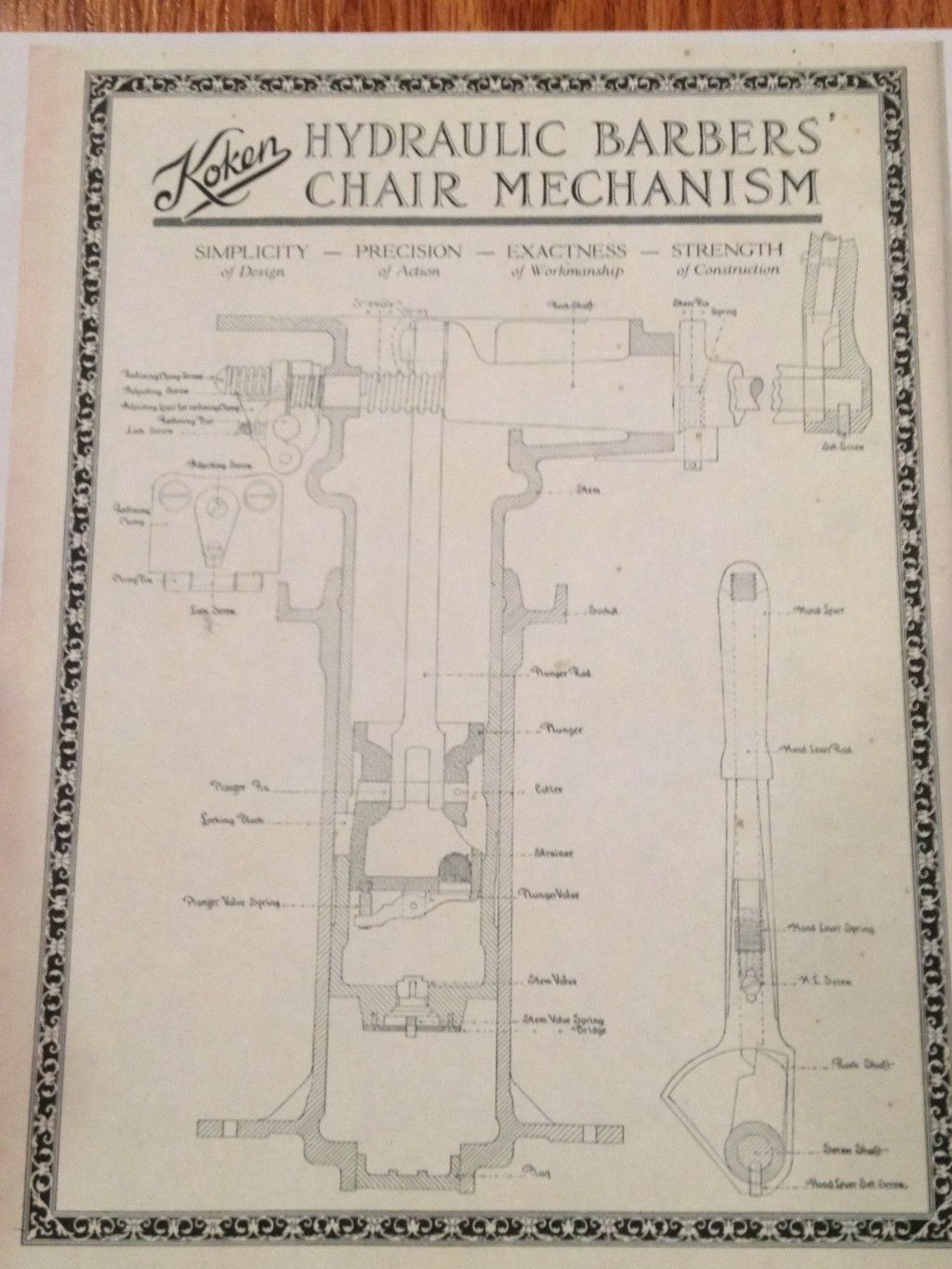 barber shave diagram ford 2n wiring antique koken chair hydraulic schematic