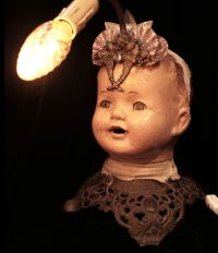 Bohemian steampunk lamp - Vintage doll head mounted to ...