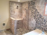 Custom shower with Delta Leland shower head and trim ...