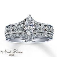 Neil Lane .75 ctw Marquise Diamond 14K White Gold ...