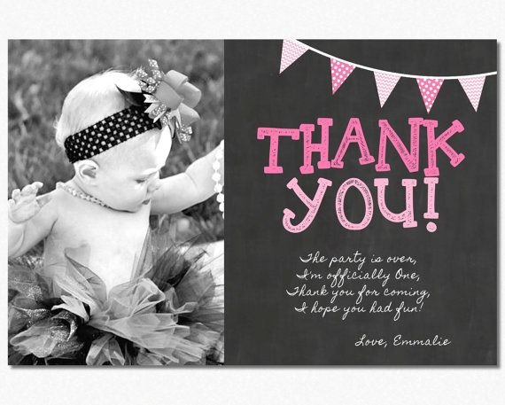 First Birthday Thank You Card 1st Birthday By PuggyPrints