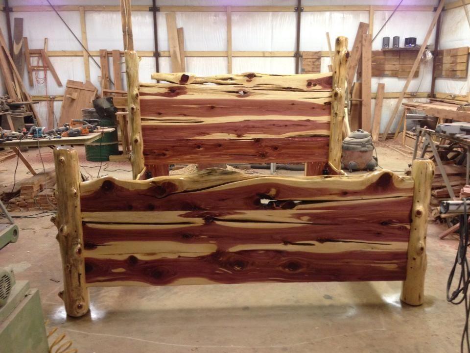 rustic cedar bed | tree slab projects | pinterest | log furniture