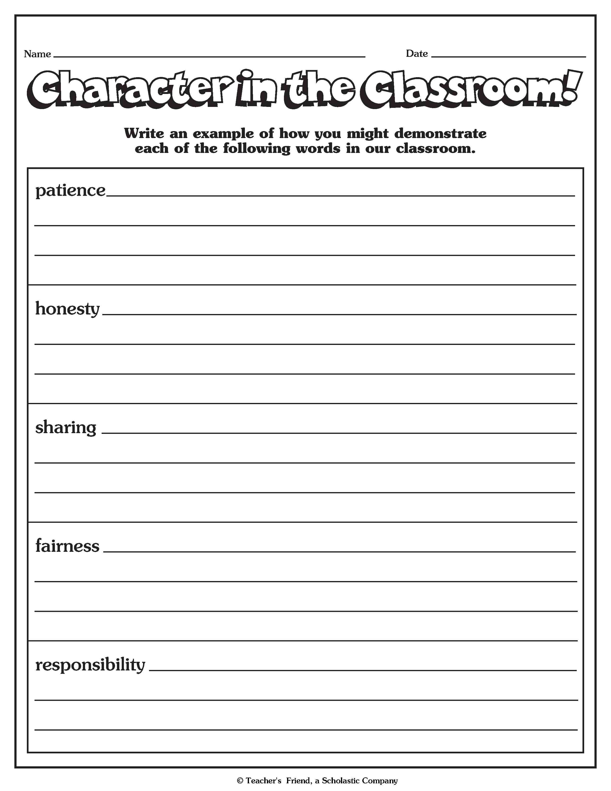 100 Read Alouds For Character Building Free Printable Building Character Worksheets