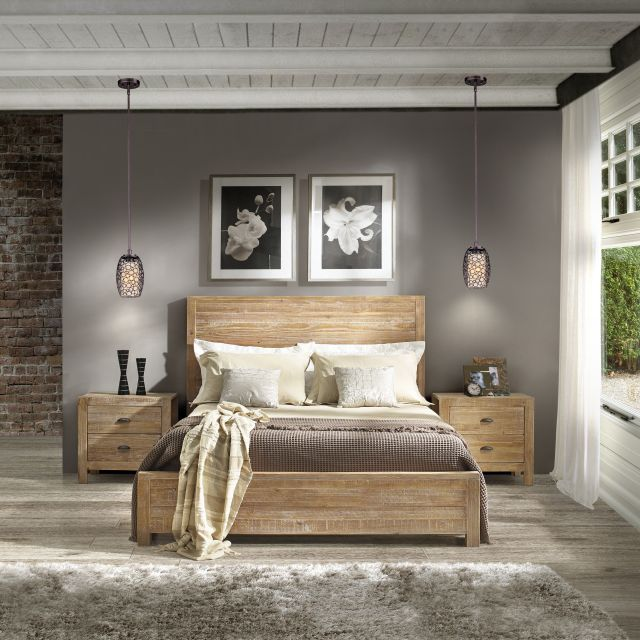 Grain Wood Furniture Montauk Queen Solid Wood Panel Bed rustic