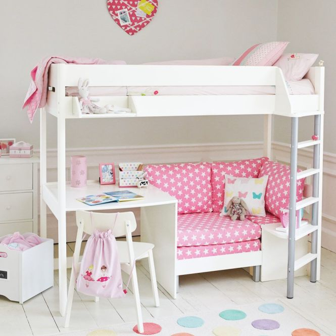 Merlin High Sleeper White With Pink Star Sofa Bed Cabin Mid Beds