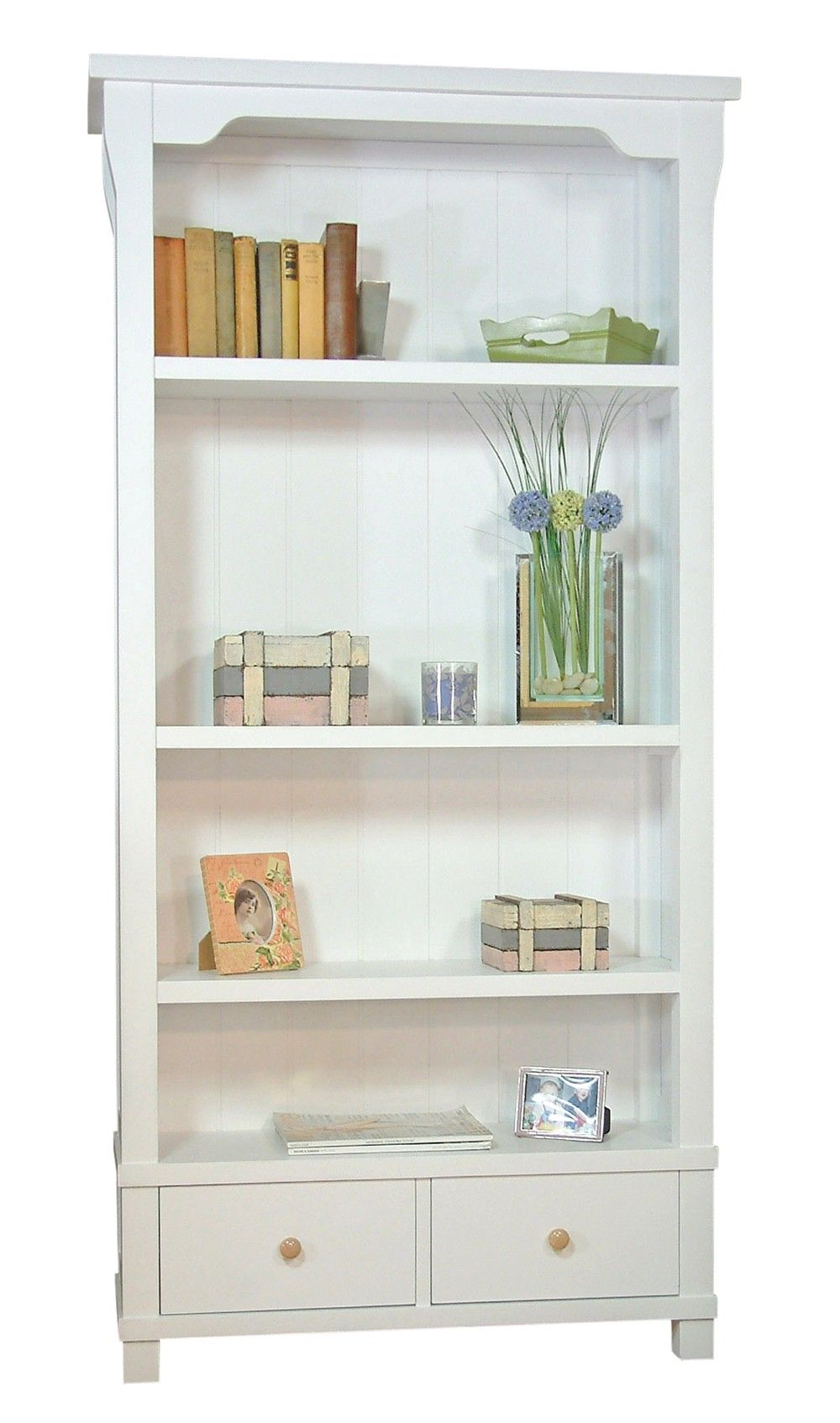 White Bookshelves With Cabinets