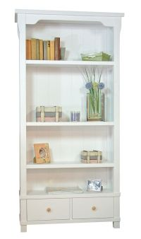 Country White Solid Wood Bookcase with Two Drawers | HOME ...