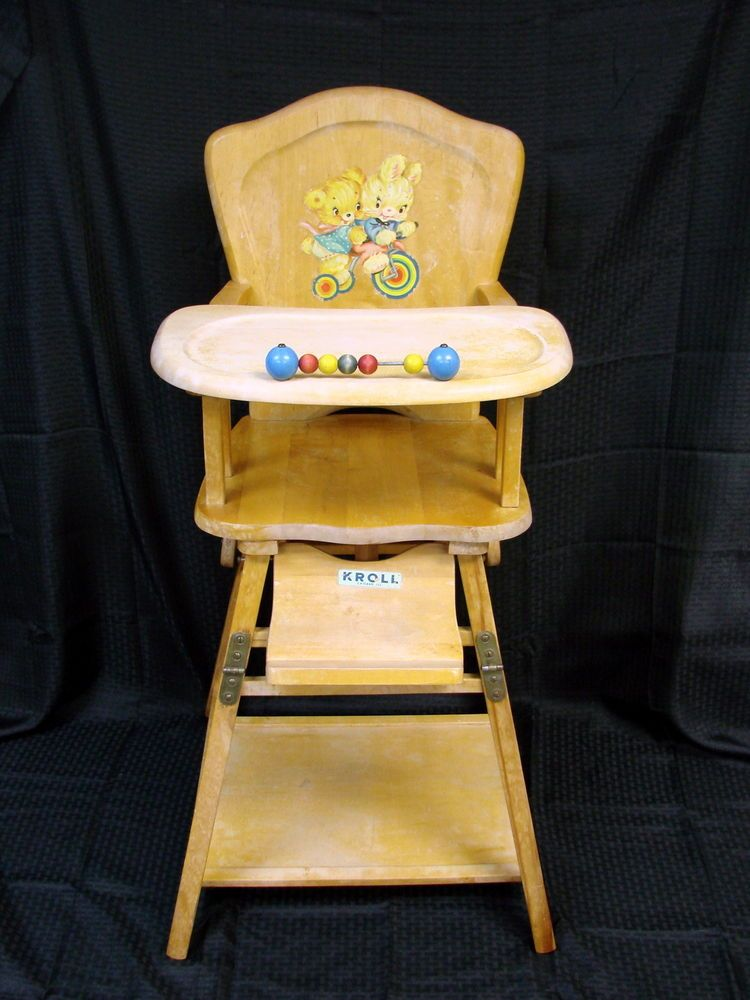 Vintage Collapsible Kroll Wood Childs High Chair Wooden