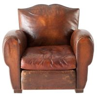 Leather Club Chair, France c. 1930 (Red Ticking : )   In a ...