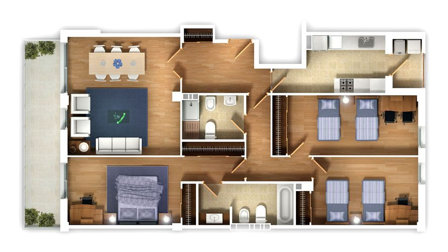 Apartments Design #12 Floor Plan 3D Top View Luxury House