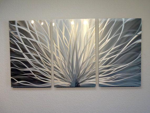 Metal wall art decor abstract contemporary modern sculpture hanging zen textured radiance silver also black  accent rh pinterest