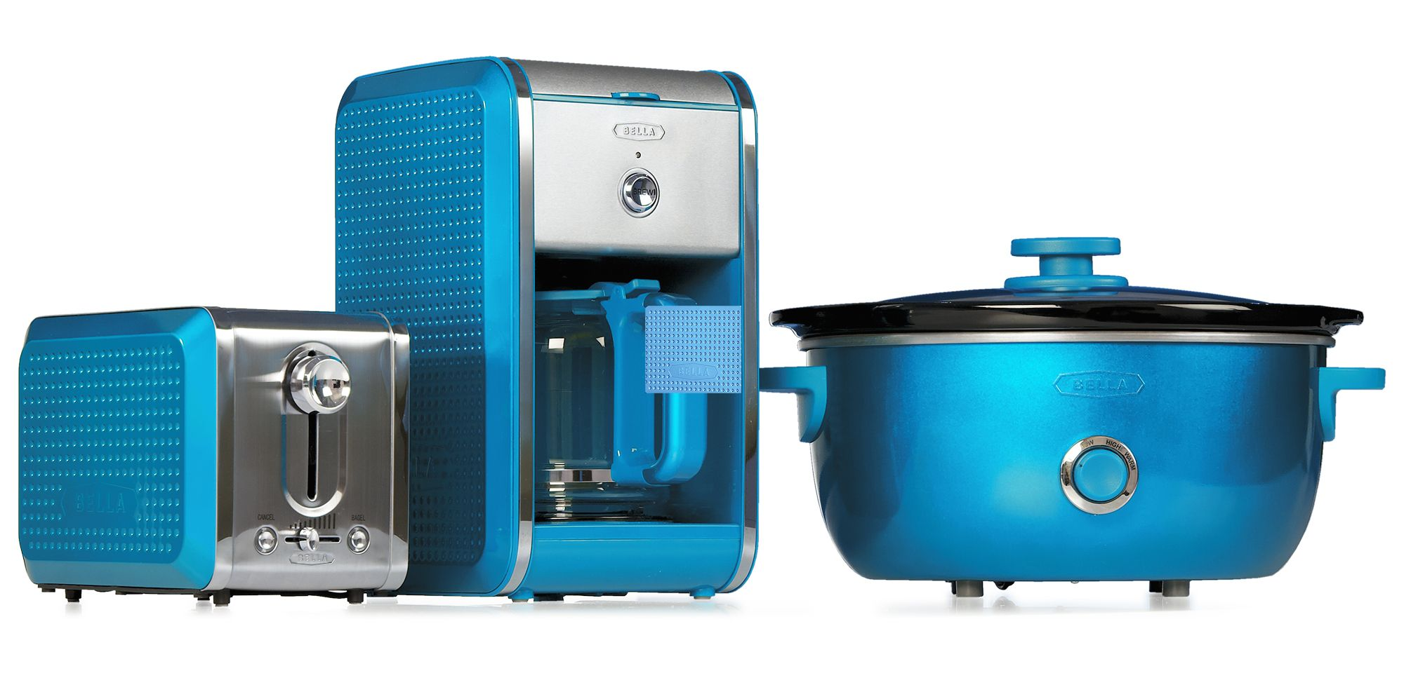 turquoise kitchen appliances glass countertops bella dots collection toaster coffee maker and slow
