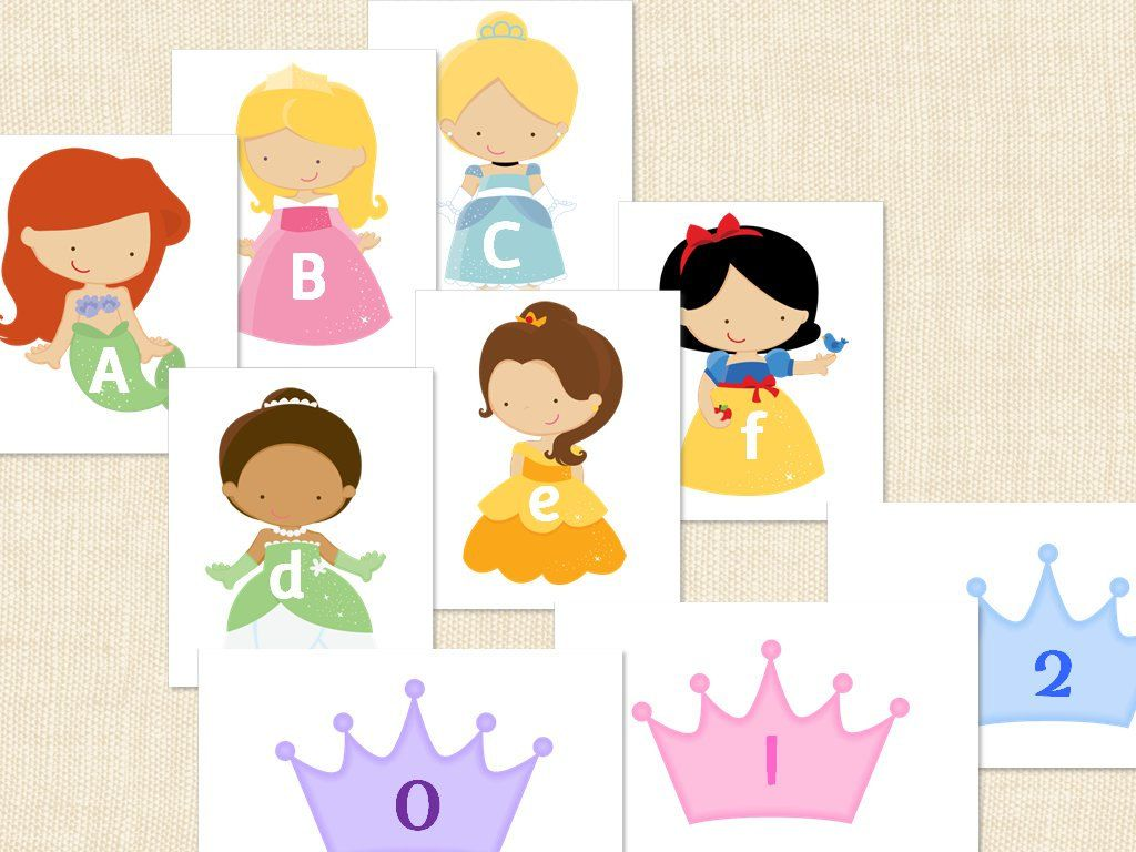 Cute Preschool Princess Alphabet Numbers Flashcards 0 20