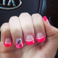Pink flower nail art French tips | nails | Pinterest ...