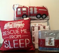 7 pc kids twin set lil dickens fire truck bedding police ...