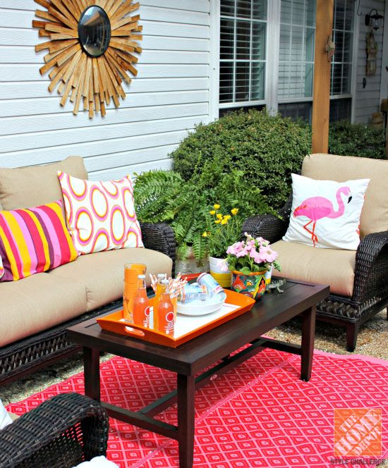 Patio Decor Ideas Colorful Poolside Seating by Cassie