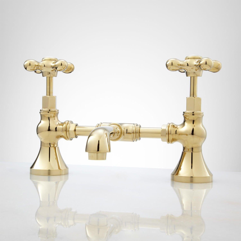 monroe bridge bathroom faucet - cross handles | faucet, bathroom