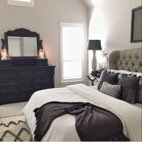 Master bed tufted grey headboard | For Our Home ...