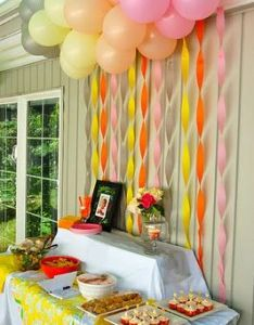 Simple Backdrop Idea Twisted Streamers With Balloons Party Decorating Birthday Also And Backdrops Rh