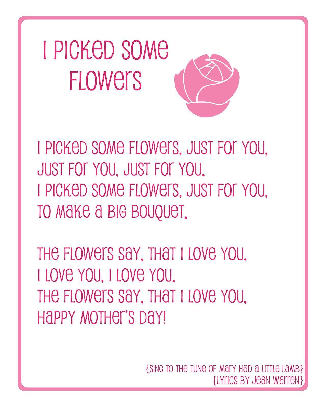 Naptime Delights Mothers Day Preschool Song Printable  Early Childhood  Pinterest