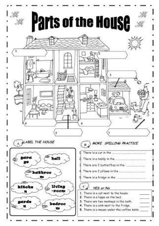 Resultado de imagen para worksheets parts of the house