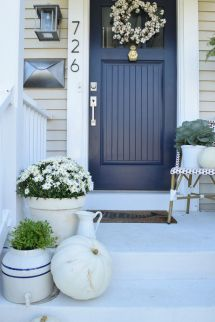Eclectic Fall Home Tour Exterior Colors Blue Doors And