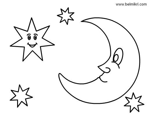 smiling star stars and moon colouring pages  coloring