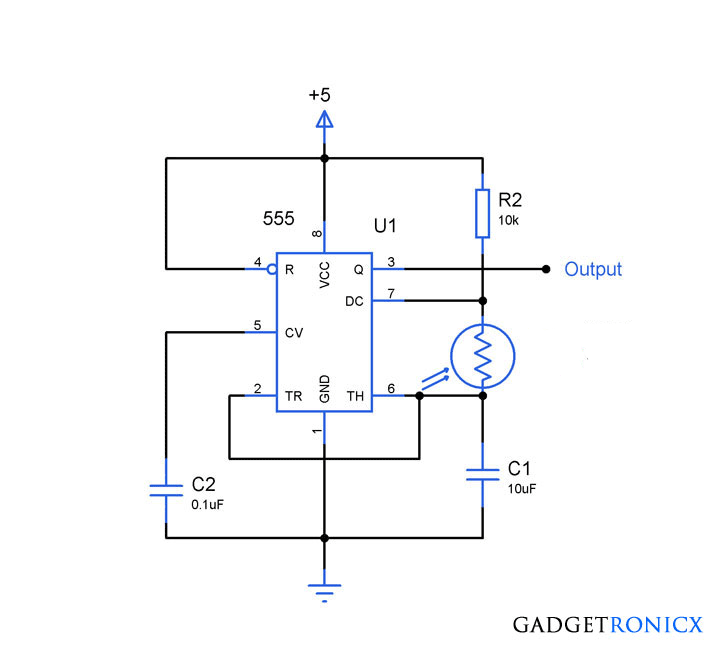 Light to frequency converter circuit using simple Light