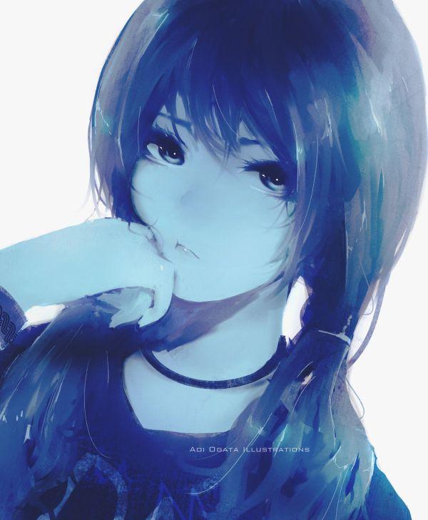 Artstation Blue Palette Painting Aoi Ogata