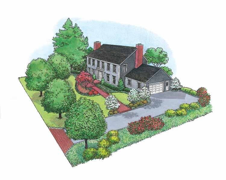Eplans Landscape Plan Center Hall Colonial Style Landscape From