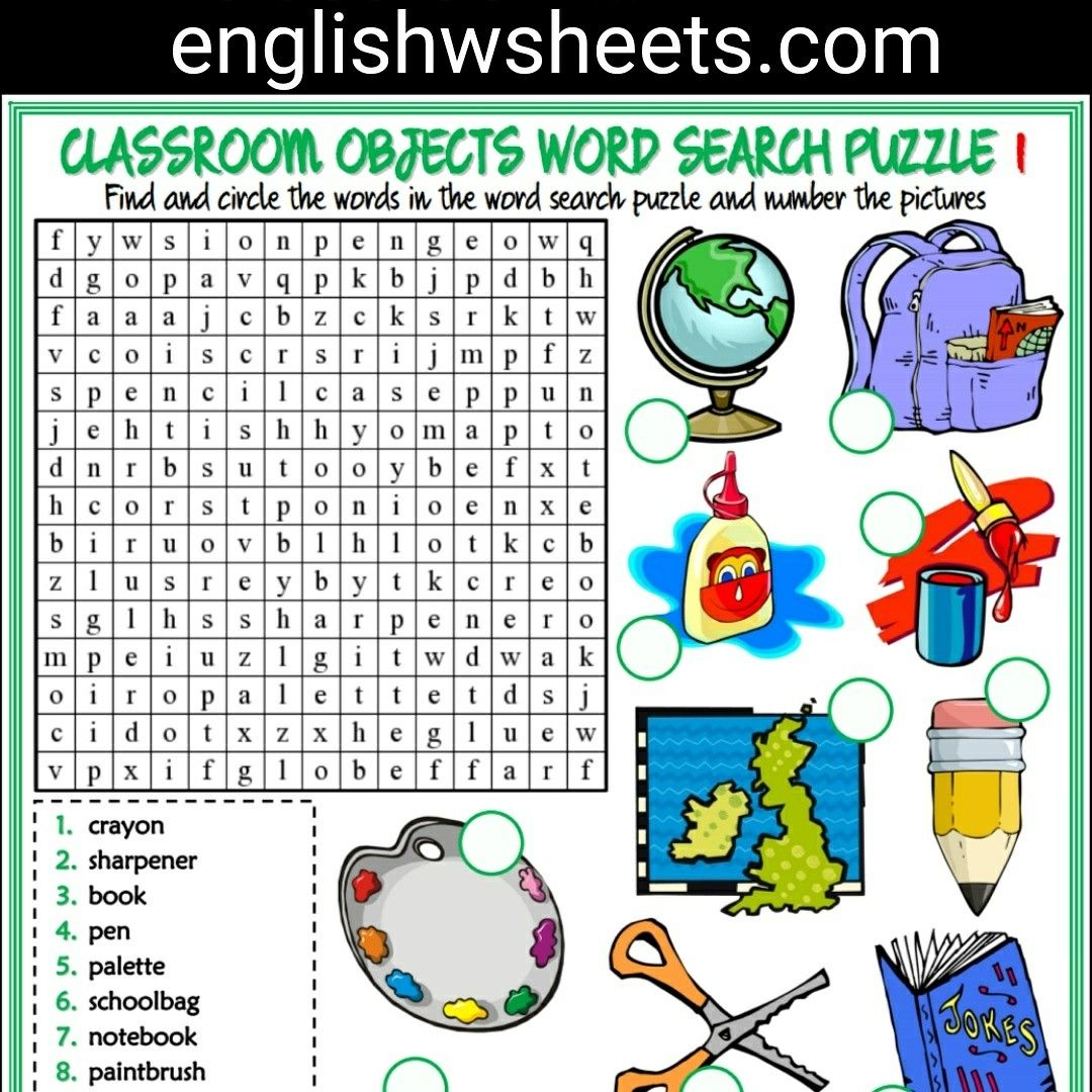 Classroom Objects Esl Printable Word Search Puzzle