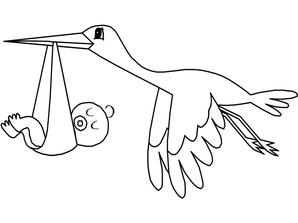 flying stork bird with baby coloring pages for kids