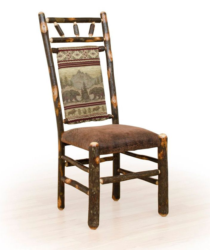 Rustic hickory upholstered dining chair with high back