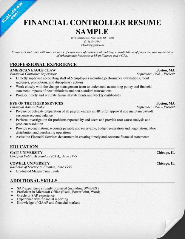 Financial Controller Resume  Education  Career  Pinterest