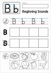 FREE Phonics Letter of the Week B. Beginning sounds cut
