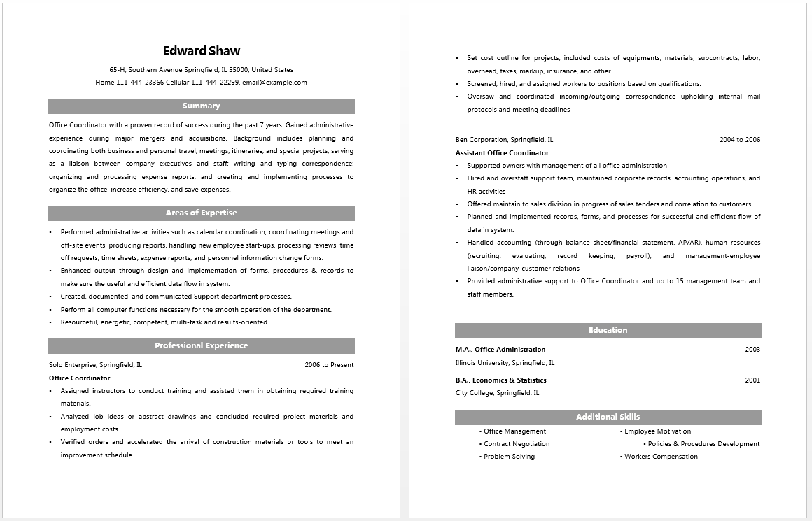 Office Coordinator Resume Resume Job Pinterest