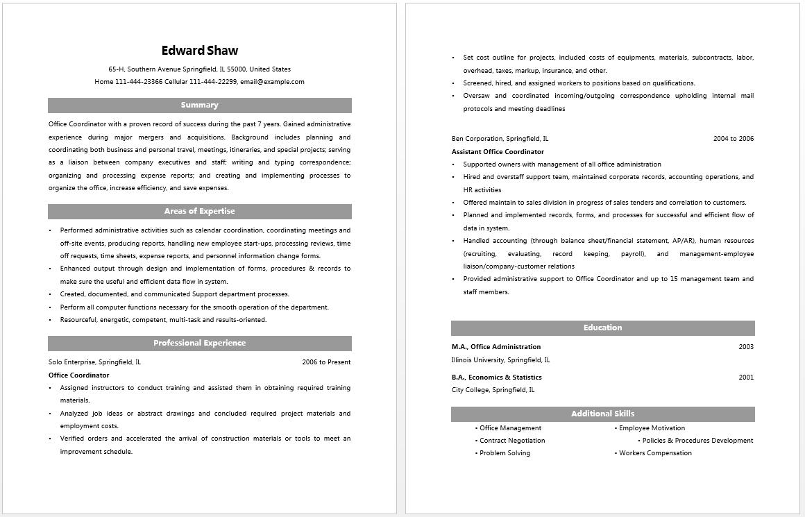 office coordinator resume sample free blank invoice form printable