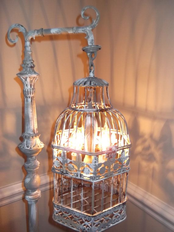 Chandelier Floor Lamp Birdcage Light This Standing Is A Stunning Statement Piece That Goes Lampbirdcage Chandeliershabby Chic