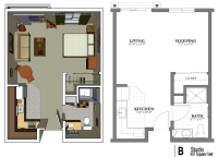 The studio apartment floor plans above is used allow the ...