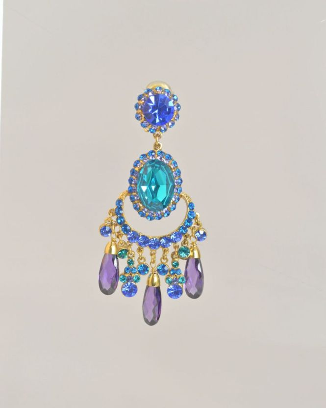 Chandelier Earrings From Barrera Are 24 Karat Gold Plated With Austrian Stones In Mixture Of Teal