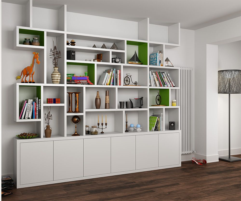 MDF painted bookcase in the living room  Bookshelves