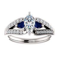 Amazon.com: 14K White Gold Marquise Cut Diamond and ...