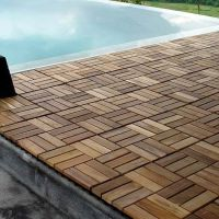 Wood Teak Flooring Interlocking Deck Tiles Pool Patio Hot
